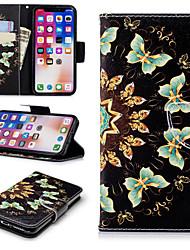 Недорогие -Кейс для Назначение Apple iPhone X / iPhone 8 Pluss / iPhone 8 Кошелек / Бумажник для карт / со стендом Чехол Бабочка Твердый Кожа PU