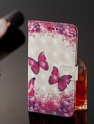 abordables -Funda Para Nokia Nokia 7 Plus / Nokia 6 2018 Cartera / Soporte de Coche / con Soporte Funda de Cuerpo Entero Mariposa Dura Cuero de PU