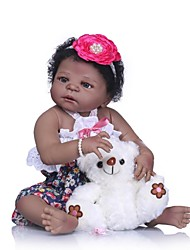 cheap -NPKCOLLECTION Reborn Doll Baby Girl 24 inch Full Body Silicone / Silicone / Vinyl - Artificial Implantation Brown Eyes Kid's Girls' Gift