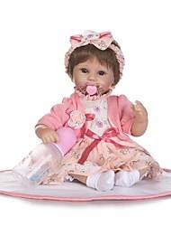 Недорогие -NPKCOLLECTION Куклы реборн Девочки 18 дюймовый Искусственная имплантация Коричневые глаза Детские Девочки Игрушки Подарок