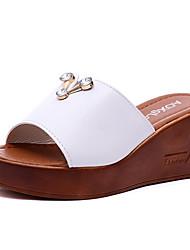 baratos -Mulheres Sapatos Couro Ecológico Verão Chanel Sandálias Salto Plataforma Branco / Preto