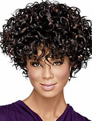 cheap -Synthetic Wig Curly Golden Layered Haircut Synthetic Hair Party Golden / Black Wig Women's Short Capless Dark Black