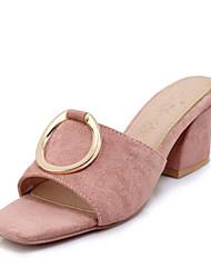 baratos -Mulheres Sapatos Camurça Verão Chanel / Plataforma Básica Chinelos e flip-flops Salto Robusto Dedo Aberto Preto / Amarelo / Rosa claro