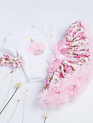 billige -Baby Pige Blomstret Kort Ærme En del