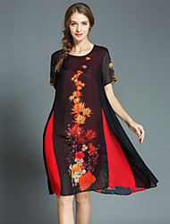 お買い得  -女性用 ストリートファッション シフト ドレス - プリント, フラワー 膝丈