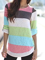 abordables -Mujer Básico / Tejido Oriental Noche Retazos / Estampado - Algodón Camiseta Delgado Un Color / A Rayas / Verano