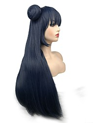 Недорогие -Маскарадные парики Прямой Стрижка каскад Искусственные волосы синтетический Синий Парик Жен. Длинные Без шапочки-основы / Да