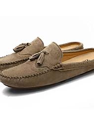 baratos -Homens Sapatos de Condução Couro de Porco / Couro Ecológico Verão Tamancos e Mules Cinzento / Azul / Khaki