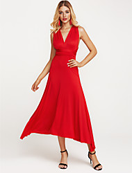 cheap -Women's Holiday Sophisticated Sheath Dress - Solid Colored Red High Rise Maxi Halter Neck