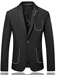 cheap -Men's Party Blazer-Solid Colored Striped / Long Sleeve / Work