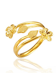Недорогие -Жен. Открытое кольцо - Медь, Позолота Цветы Роскошь Регулируется Золотой Назначение Подарок Свидание