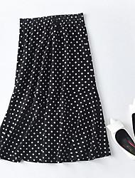 cheap -women's going out cotton asymmetrical trumpet / mermaid skirts - polka dot