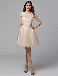 cheap -A-Line Jewel Neck Short / Mini Lace / Tulle Cocktail Party Dress with Beading / Appliques / Sash / Ribbon by TS Couture®