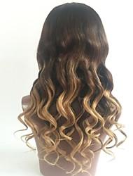 cheap -Virgin Human Hair Lace Front Wig Brazilian Hair Wavy Blonde Wig Layered Haircut 130% Ombre Hair / Dark Roots Blonde Women's Short / Long / Mid Length Human Hair Lace Wig