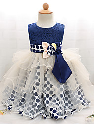 cheap -Baby Girls' Polka Dot / Patchwork Sleeveless Dress