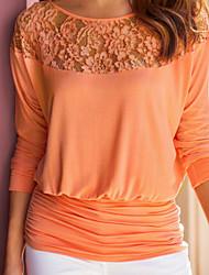 abordables -Mujer Básico Encaje / Ahuecado / Retazos Camiseta Un Color