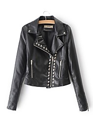 cheap -Women's Holiday / Going out Leather Jacket - Solid Colored Shirt Collar