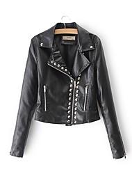 baratos -Mulheres Jaquetas de Couro Feriado / Para Noite Sólido Colarinho de Camisa