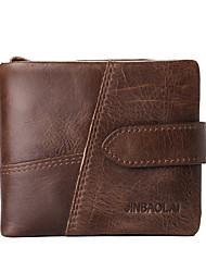 Недорогие -мужские сумки наппа кожаный бумажник молния темно-коричневый / кофе