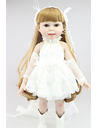 Недорогие -NPKCOLLECTION Модная кукла Девушка из провинции 18 дюймовый Полный силикон для тела Винил - Искусственная имплантация Коричневые глаза Детские Девочки Игрушки Подарок