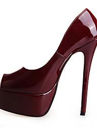 baratos -Mulheres Sapatos Couro Ecológico Outono & inverno Plataforma Básica Saltos Salto Agulha Peep Toe Fúcsia / Vermelho / Vinho / Casamento