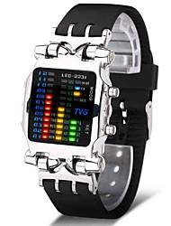 Недорогие -Муж. Спортивные часы Армейские часы электронные часы Японский Цифровой Нержавеющая сталь Черный 30 m Творчество Новый дизайн Светящийся Цифровой Роскошь Кольцеобразный - Черный Серебряный / Один год