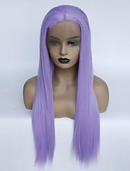 preiswerte -Synthetische Lace Front Perücken Glatt Mittelteil Synthetische Haare Verstellbar / Modisch / Glueless Lila Perücke Damen Lang Spitzenfront