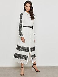 baratos -Mulheres Moda de Rua / Sofisticado balanço / Camisa Vestido - Renda / Patchwork / Guarnição do laço, Estampa Colorida Longo Preto & Branco