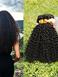 baratos -Cabelo Indiano Kinky Curly Presentes / Ternos de Cosplay / Cabelo Humano Ondulado 3 pacotes 8-28 polegada Tramas de cabelo humano Criativo / Macio / Grossa Preto Natural Extensões de cabelo humano