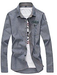 Недорогие -Муж. Джинса / Вышивка Рубашка Классический Однотонный / Буквы