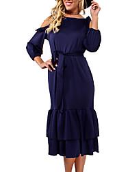 cheap -Women's Going out Cotton Slim Trumpet / Mermaid Dress / Summer / Fall