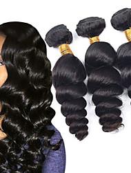 baratos -3 pacotes Cabelo Mongol Ondulação Larga Cabelo Humano Peça para Cabeça / Extensor / Cabelo Bundle 8-28 polegada Tramas de cabelo humano Fabrico à Máquina Sedoso / Tecido / Melhor qualidade Preta Côr