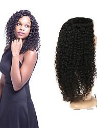 Недорогие -Натуральные волосы Полностью ленточные Парик Перуанские волосы Кудрявый Парик Ассиметричная стрижка 130% 150% 180% Плотность волос Без запаха Конструкторы Шерсть Черный Жен. Средняя длина / Мода