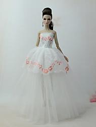 Недорогие -Платья Платье Для Кукла Барби Белый Тюль / Кружево / Шелково-шерстяная ткань Платье Для Девичий игрушки куклы