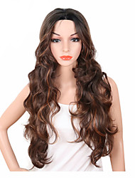cheap -Synthetic Wig Wavy Middle Part Synthetic Hair Adjustable / Heat Resistant / Synthetic Brown Wig Women's Long Capless
