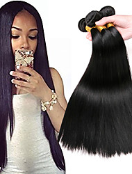 cheap -3 Bundles Mongolian Hair Straight Human Hair Gifts / Headpiece / Extension 8-28 inch Human Hair Weaves Machine Made Easy dressing / Best Quality / Hot Sale Black Natural Color Human Hair Extensions