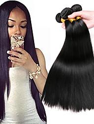 Недорогие -3 Связки Монгольские волосы Прямой Натуральные волосы Подарки / Головные уборы / Удлинитель 8-28 дюймовый Ткет человеческих волос Машинное плетение