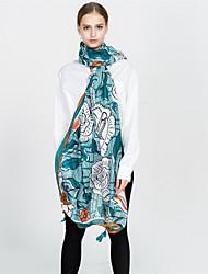 cheap -Women's Vintage / Basic Rectangle - Floral Blue & White, Tassel
