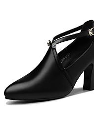 baratos -Mulheres Sapatos Couro Ecológico Primavera Verão Tira em T / Plataforma Básica Saltos Salto Robusto Dedo Apontado Botão Preto / Vinho