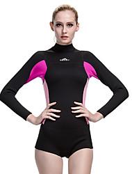abordables -SBART Mujer Traje de neopreno completo 2.5mm CR Neopreno Trajes de buceo Secado rápido Manga Larga Cremallera Posterior Un Color Verano