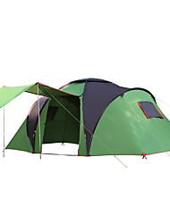 abordables -6 personnes Tente de camping familiale Double couche Barre Tente de camping Trois pièces Extérieur Etanche, Pare-vent, UPF50+ pour Camping / Randonnée / Spéléologie >3000 mm Tissu Oxford 490*230*195