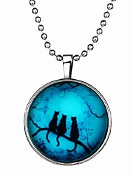 preiswerte -Damen Leuchtender Stein Lang Anhängerketten - Katze Retro, Modisch Blau 21 cm Modische Halsketten 1pc Für Halloween, Bar