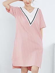 baratos -Mulheres Decote em V Profundo Cetim & Renda Pijamas Listrado