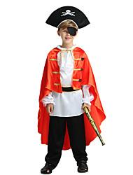 baratos -Pirata Roupa Para Meninos Dia Das Bruxas / Carnaval / Dia da Criança Festival / Celebração Trajes da Noite das Bruxas Preto Sólido / Halloween Dia Das Bruxas