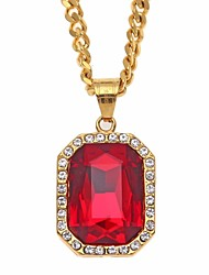 cheap -Men's Cubic Zirconia / Synthetic Ruby Vintage Style / Cuban Link Pendant Necklace / Chain Necklace - Stainless Creative, Precious Vintage, European, Hip-Hop Gold 70 cm Necklace 1pc For Gift, Street