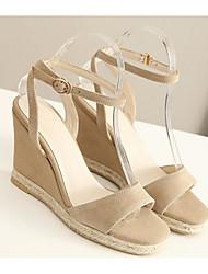 abordables -Mujer Zapatos Piel de Oveja Verano Confort Sandalias Tacón Cuña Negro / Almendra