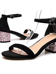 Mujer Zapatos Piel de Oveja Verano Confort / Pump Básico Sandalias Tacón Cuadrado Negro / Borgoña / Verde Oscuro tj73Us0v