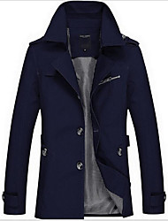 cheap -Men's Trench Coat - Contemporary Stand / Long Sleeve