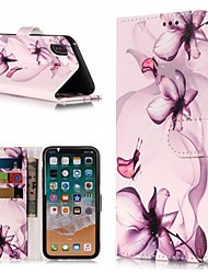 billige -Etui Til Apple iPhone X / iPhone 8 Plus Pung / Kortholder / Med stativ Fuldt etui Sommerfugl / Blomst Hårdt PU Læder for iPhone X / iPhone 8 Plus / iPhone 8