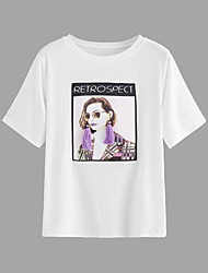 baratos -Mulheres Camiseta - Para Noite Geométrica / Retrato Solto